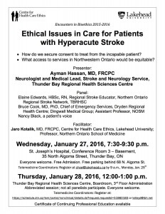 Poster January  27 & 28, 2016 - Ethics in stroke care